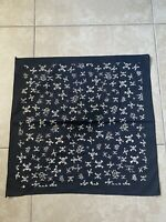 "Vintage Fashion Victim 1990 Skull Bandana Black White Scarf 21x21"" Square"