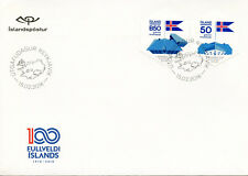 Iceland 2018 FDC Independence & Sovereignty 100th Ann 2v S/A Cover Flags Stamps