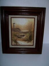Vintage H. GAILEY Oil on Board Painting SEASCAPE Signed Coastal Boat LIGHTHOUSE