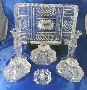 Vintage Heavy Crystal Clear Glass Dressing Table Vanity Set