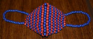 Kandi Mask - Pearlized Blue and Red - handmade - Women's size