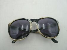 "Michele Lamy Vintage ""Diffuse"" Black and Beige Horn Pattern Sunglasses"