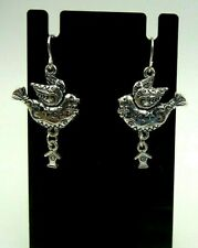 ETCHED DOVE BIRD DANGLE EARRINGS WITH DANGLING BIRDHOUSE