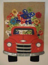 Red Pick up Truck bursting w/ Flowers, Burlap texture, Tires, Spring Garden flag