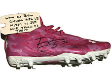 BRIAN CUSHING #56 HOUSTON TEXANS AUTOGRAPHED NFL GAME WORN SHOE - TORN ACL JETS