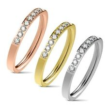 Eleganter Damen Ring aus Edelstahl   glänzende Zirkonia-Kristalle   Partnerring