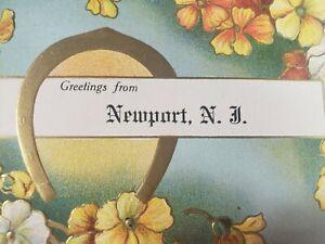 C 1910 Greetings From Newport NJ Embossed Flowers Gold Horseshoe DB Postcard