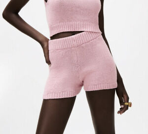 Zara Rustic Knit Shorts In Pink Size S Uk 8