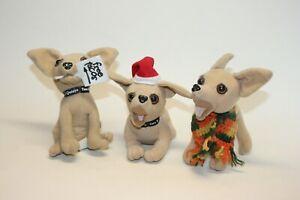Lot of 3 Vintage Taco Bell Talking Chihuahua Dogs Plush Stuffed (two still talk)