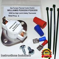 P200200 P200300 Williams Furnace Heater Fan Limit Switch +Instruct. SHIPS TODAY!