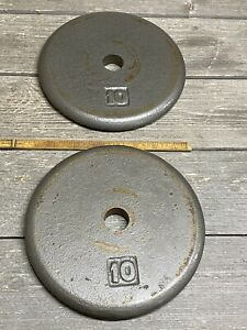 """2 Vintage 10 Pound Cast-Iron Barbell Pancake Plate Weights With 1"""" Hole"""