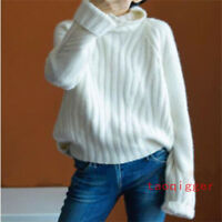 Korean Cashmere Womens Knitted Sweater Thicken High Collar Blouse Loose fit Tops