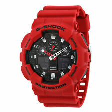 NEW Casio G-Shock GA100B-4A Watch for Men Black and Matte Crimson Red