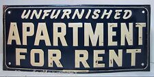 Old Unfurnished Apartment for Rent Sign embossed metal tin Frank Fred Edwards Tx