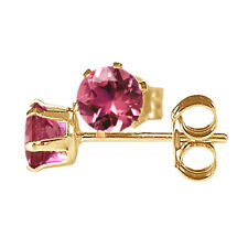 4mm ROUND FACETED RUBILITE / PINK TOURMALINE 9k / 9ct YELLOW GOLD STUD EARRING