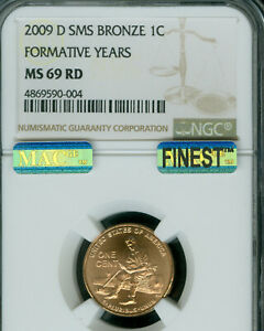 2009-D FORMATIVE LINCOLN CENT NGC MS69 RED SMS MAC FINEST MAC SPOTLESS .