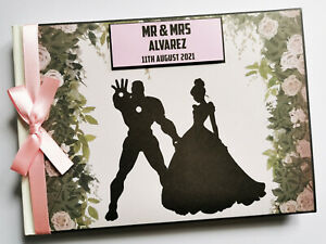 Personalised Iron man and Cinderella wedding guest book, superhero wedding, gift