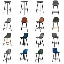 2 PCS Bar Restaurant Stools Fabric Velvet PU Counter High Chairs Metal Legs Soft