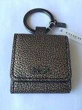 Coach Mini Picture Frame Key Ring Metallic Leather 63162