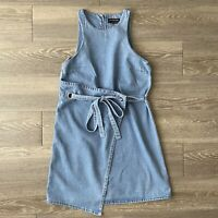 The Fifth Label Womens Dress Blue Washed Denim Size Small S Cross Tie Shift