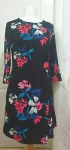 PHASE EIGHT Size 12 Black Wrap Dress With Pink And Blue Floral Print