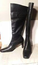 "Hush Puppies Womens Sz.8 Knee High Black Leather Boots 3"" Heel Waterproof"