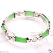 Fashion Women's Natural Green Jade Gemstone Silver Fortune Lucky Link Bracelet