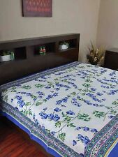 Handmade 100% Cotton French Floral Print Tapestry Tablecloth Coverlet Full Blue