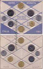 ITALIA SERIE DIVISIONALE 1981 8 VAL. 5-10-20-50-100-100 LIVORNO-200-500 LIRE FDC