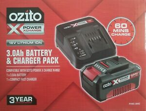 New Ozito Power X Change 18V 3.0Ah Amp Battery AND Fast Charger Combo Pack Kit