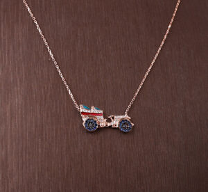 OLD CAR TOPAZ ROSE GOLD COLORED OVER .925 STERLING SILVER NECKLACE #33906