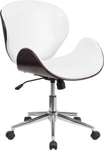 Mid-Back Mahogany Wood Swivel Conference Chair in White Leather - SD-SDM-2240...