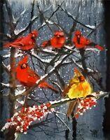 YARY DLUHOS ORIGINAL ART OIL PAINTING Winter Snow Cardinal Birds Nature Wildlife