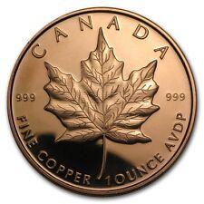 New listing Canadian Maple Leaf – Beautiful 1 oz Copper Art Round, Bu, Proof Like
