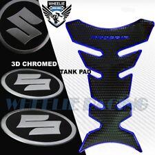 CHROMED BLUE PRO GRIP FUEL TANK PAD+2 X BRUSHED METAL SUZUKI LOGO EMBLEM STICKER