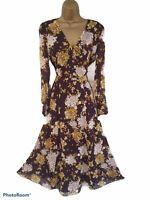 Massimo Dutti Brown Yellow White Floral Gypsy Prairie Dress Long Midi Maxi Small