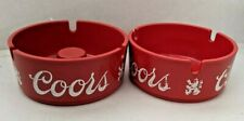 Lot of 2 Vintage Red and White Plastic Coors Ashtrays