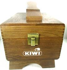 Kiwi Vintage Shoe Shine Groomer Box Chest Valet Wood Dovetail
