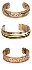 """3 Different Solid Copper + Brass Magnetic Cuff Bracelets w/ """"Therapy"""" Magnets"""