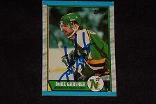 HOF MIKE GARTNER 1989-90 TOPPS SIGNED AUTOGRAPHED CARD #30 NORTH STARS