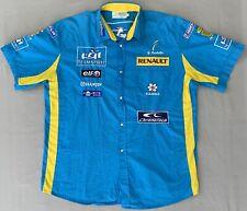 Giancarlo Fisichella Formula 1 Renault Team Driver Shirt Button Blue Size XXL