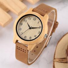 Creative Natural Wood Leather Band Women Lady Analog Quartz Wrist Watches Bangle