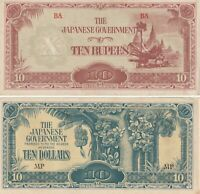 Group Lot of 2 Japanese Government WWII Banknotes Burma Malaya 10 Dollars Rupees