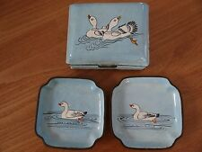 ANTIQUE CHINESE GEESE REPOUSSE CLOISONNE ENAMEL BOX AND TRAYS SET TRINKET