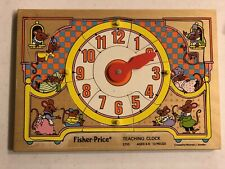 """1984's Fisher-Price  """"Teaching Clock"""" ~ #2710  12 Piece ~ Wood Puzzle - Ages 3-6"""