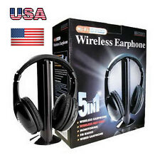 5 IN 1 Wireless Headphone Casque Audio Sans Fil Ecouteur Hi-Fi Radio FM TV Black