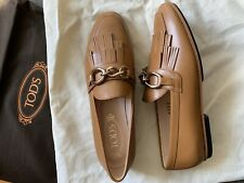 nib tod's gomma leggero women brown loafer 37 $645
