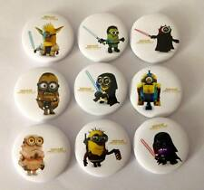 Lot of 9 Minions Star Wars Badges - 3cms diameter - for party loot bags favours