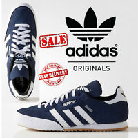 ADIDAS ORIGINALS SAMBA SUPER SUEDE RETRO TRAINERS CASUAL SHOES NAVY UK SIZES