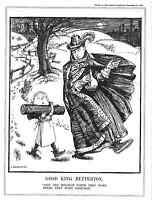 Punch.Cartoon.King Betterton.1933.Antique print.Genuine.Logs.Winter.Royalty.Old